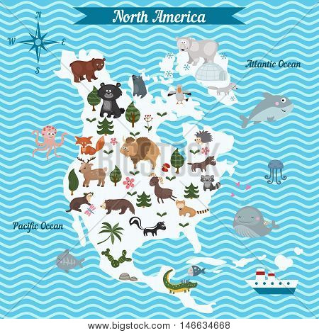Cartoon map of North America continent with different animals. Colorful cartoon illustration for children and kids. North America mammals and sea life.