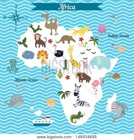 Cartoon map of Africa continent with different animals. Colorful cartoon illustration for children and kids. Africa mammals and sea life.