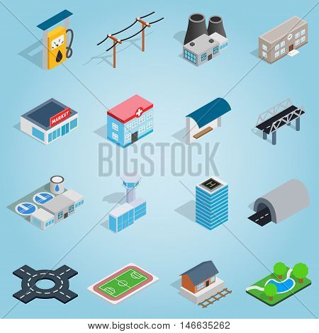 Isometric infrastructure icons set. Universal infrastructure icons to use for web and mobile UI, set of basic infrastructure elements vector illustration