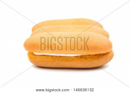 Sponge cake  vanilla on a white background