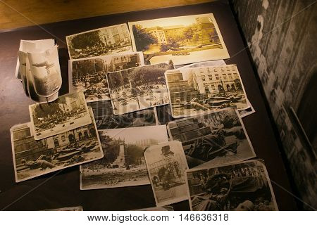 POLAND, KRAKOW - MAY 27, 2016: Old photos on the theme of life Krakow Jews during the Second World War. Schindler's Factory Museum in Krakow.