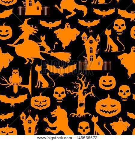 Vector illustrations of Halloween orange pattern seamless on black background