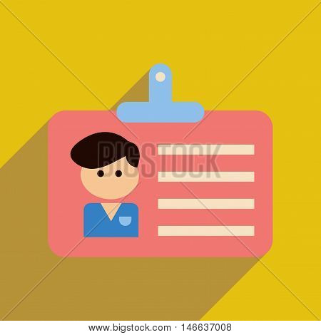 Flat web icon with long  shadow identification badge
