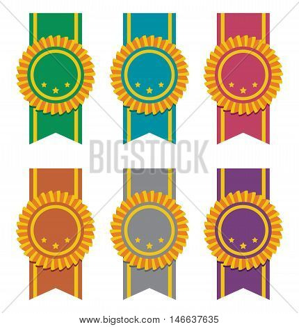 vector set of ribbon badges isolated on white
