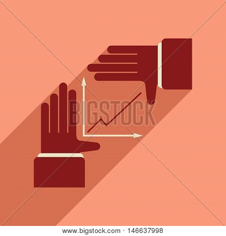 Flat web icon with long  shadow hand graph