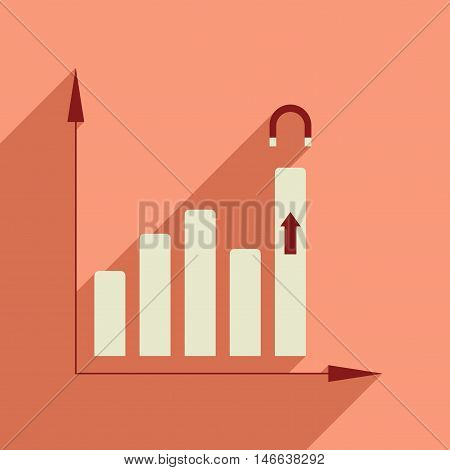 Flat web icon with long  shadow economy graph