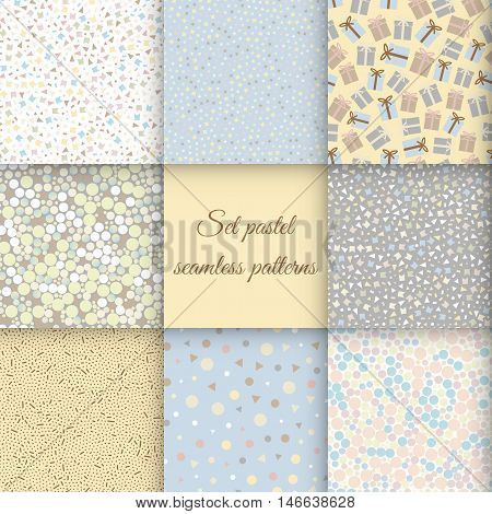 Set of Seamless geometric patterns in pastel colors-vector illustration. Gentle soothing colors, geometric shapes, triangles, circles, stars, gifts, packing.