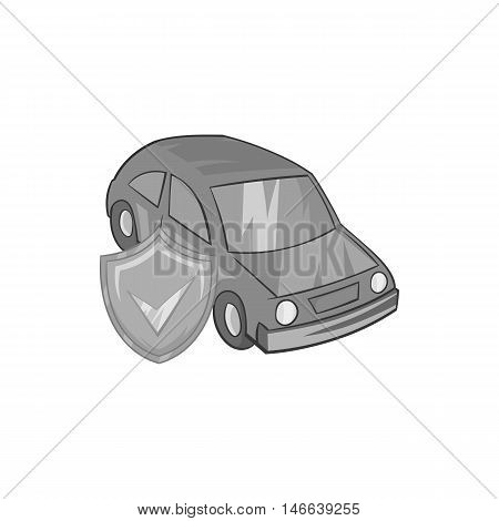 Car insurance icon in black monochrome style on a white background vector illustration