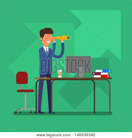 Business concept of searching for opportunities. A man looks through a telescope. Flat design, vector illustration.