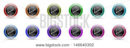 chart round glossy colorful web icon set