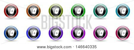 card round glossy colorful web icon set