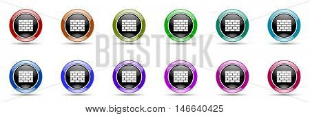 firewall round glossy colorful web icon set