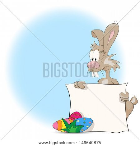 Illustration of a cartoon Easter bunny with Easter Eggs and blank sign for your text