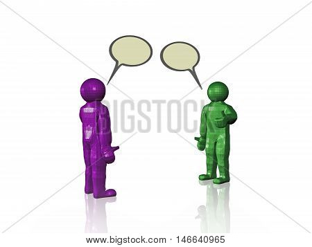 Two speaking mans on white background, 3D illustration.