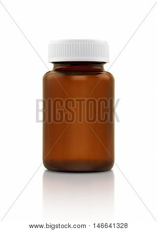 Blank brown glass supplement product bottle isolated on white background