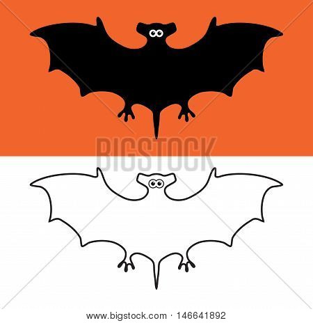 vector set of bat symbols scary vampires of wildlife concept