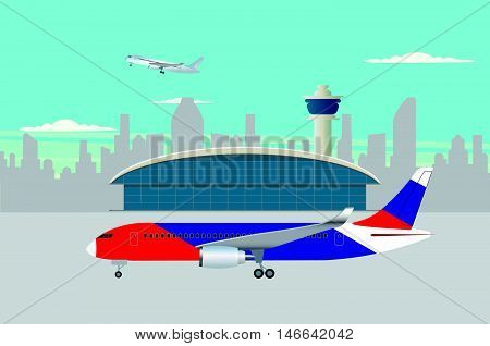 airplane preparing to flight near the terminal building background vector illustration