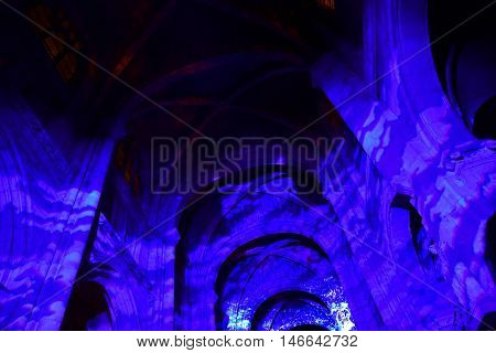 Poissy; France - august 20 2016 : sound and light show in the collegiate church