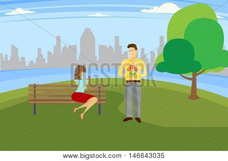 marriage proposal at the river background vector illustration