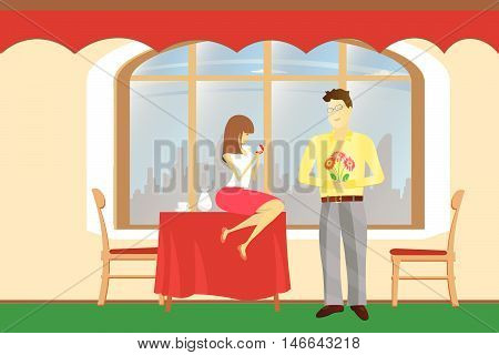 Offer to marry in a café backgrounds vector Illustration