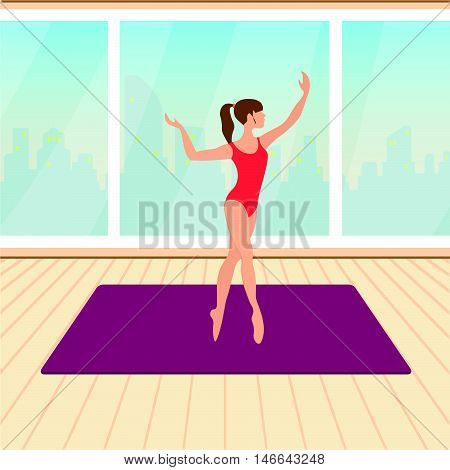 fitness beautiful girl trains in the hall vector illustration