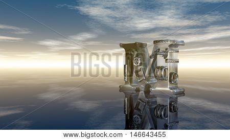 machine letter m under cloudy sky - 3d illustration