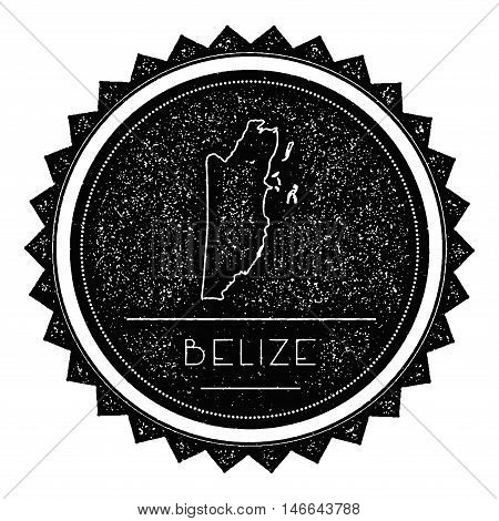 Belize Map Label With Retro Vintage Styled Design. Hipster Grungy Belize Map Insignia Vector Illustr