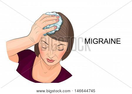 illustration of a woman suffering from headache holding ice on his head