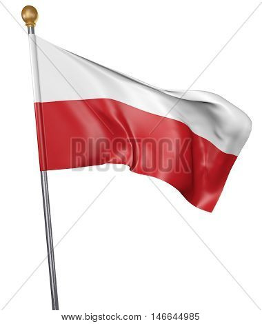 National flag for country of Poland isolated on white background, 3D rendering