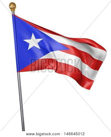 National flag for country of Puerto Rico isolated on white background, 3D rendering