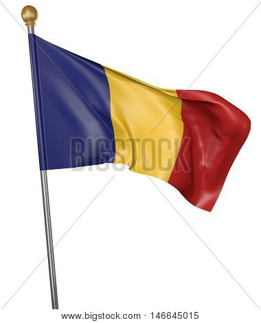 National flag for country of Romania isolated on white background, 3D rendering