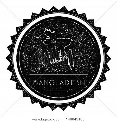 Bangladesh Map Label With Retro Vintage Styled Design. Hipster Grungy Bangladesh Map Insignia Vector