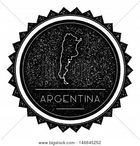Argentina Map Label With Retro Vintage Styled Design. Hipster Grungy Argentina Map Insignia Vector I