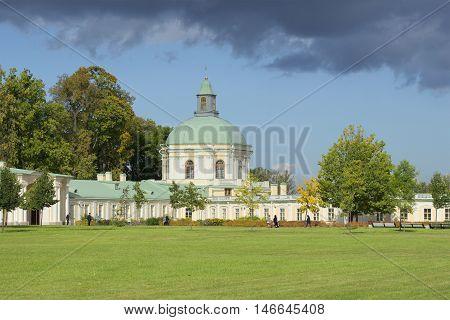 ORANIENBAUM, RUSSIA - SEPTEMBER 20, 2015: View on the pavilion of Menshikov's Great Palace. Historical landmark of the city Oranienbaum