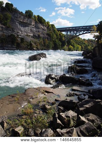 Wild White Foaming Water Rapids in National Park