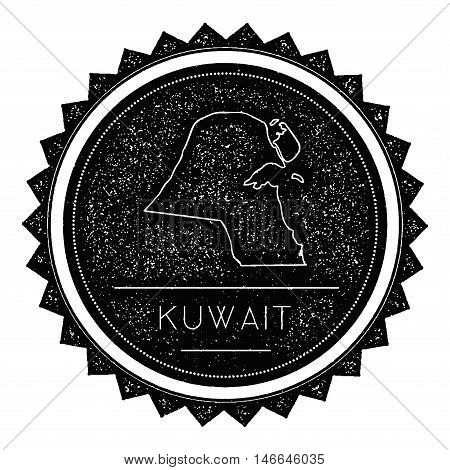 Kuwait Map Label With Retro Vintage Styled Design. Hipster Grungy Kuwait Map Insignia Vector Illustr