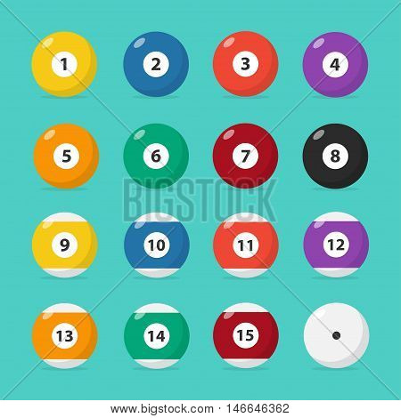 Billiard balls set vector isolated from the background. Colored icons of pool billiard balls in a flat style. The symbol of active holidays.
