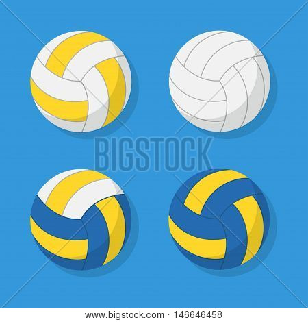 Volleyball ball set vector isolated from the background. Icons leather white blue and yellow volleyballs in a flat style.