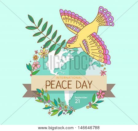 International Peace Day. 21 september. Peace dove with olive branch over the planet overgrown flowers. Hand drawn.