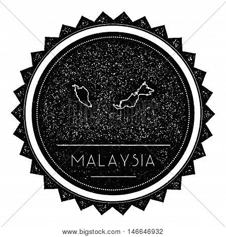 Malaysia Map Label With Retro Vintage Styled Design. Hipster Grungy Malaysia Map Insignia Vector Ill