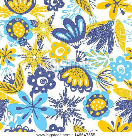 Abstract floral seamless pattern with blue and yellow flowers and leaved