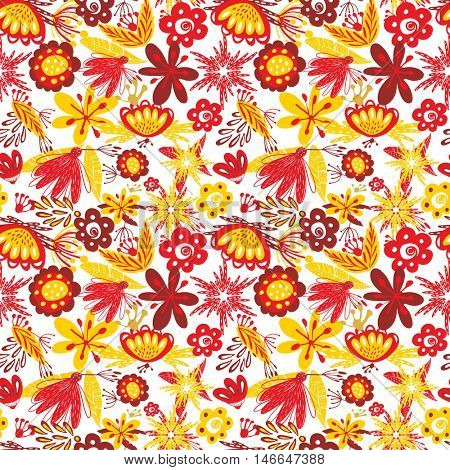 Abstract floral seamless pattern with red and yellow flowers on white background. Autumn colors pattern for print or web design.