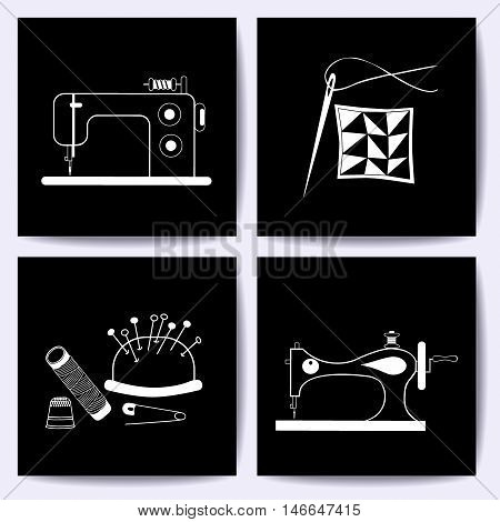 Set of cards with sewing machine, needle. The white line on blackboard. Vector illustrations of objects for tailoring, handicraft, hand made. It can be used for packaging, label, emblem.