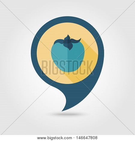Persimmon flat vector pin map icon. Map pointer. Map markers. Tropical fruit. Vector illustration eps 10