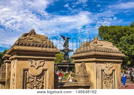 Bethesda Fountain In Central Park In New York