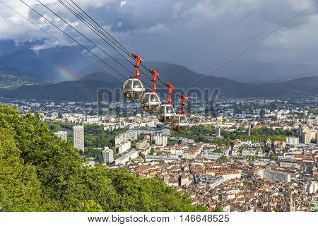 Picturesque aerial view of Grenoble city France