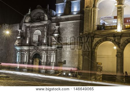 Arequipa, Peru - May 06, 2016: Colonial Houses On Plaza De Armas Square In Arequipa, Peru