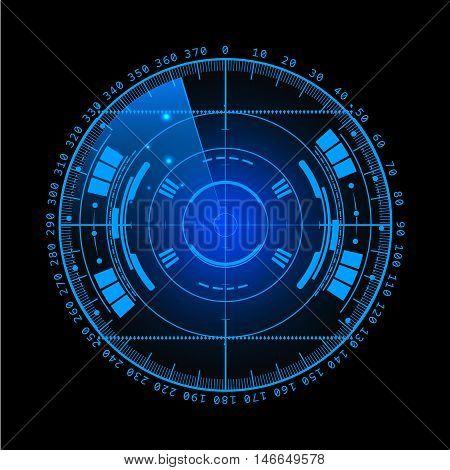 Radar screen. Vector illustration for your design. Technology background. Futuristic user interface. Radar display with scanning. HUD.