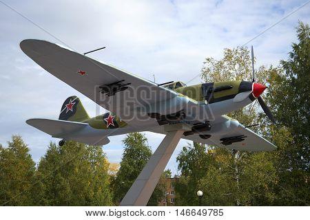 LENINGRAD REGION, RUSSIA - SEPTEMBER 14, 2015: Soviet attack aircraft IL-2. A fragment of the monument to the defenders of the Leningrad sky. Historical landmark