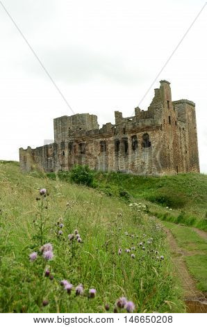 A view toward the ruins of Crichton castle